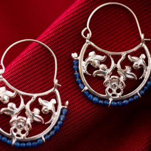 Silver Floral Byzantine Hoops