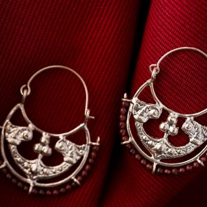 siver Byzantine Hoops with garnet