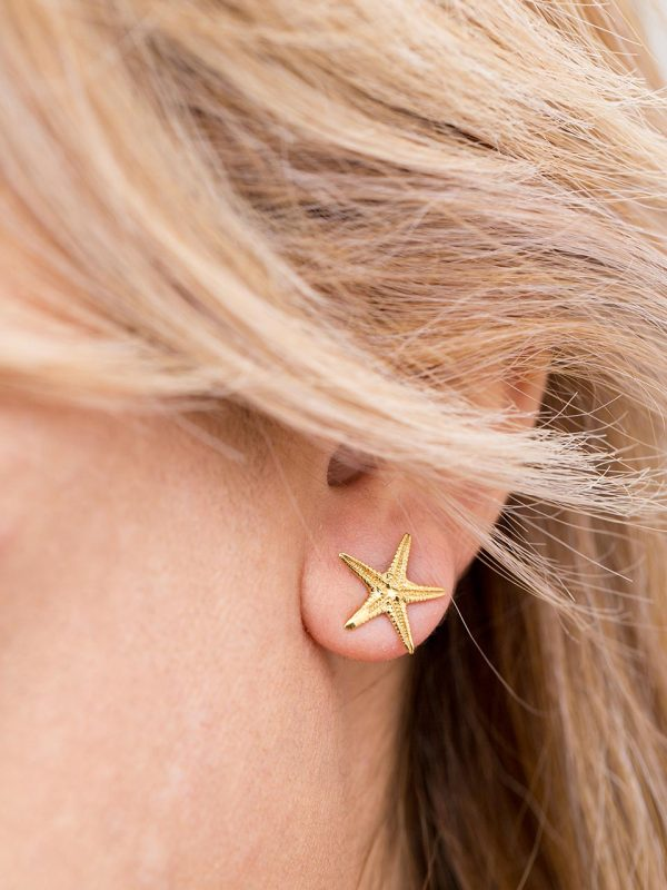 Hand Made Sterling Silver Gold Plated Small Starfish Studs