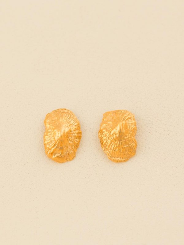 Hand Made Sterling Silver Gold Plated Small Limpet Seashell Studs