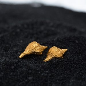 Hand Made Sterling Silver Gold Plated Murex Seashell Studs