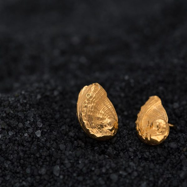 Abalone shell studs gold