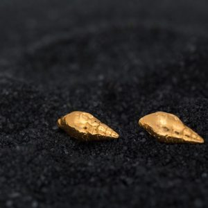 gold dove seashell studs