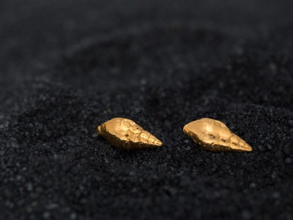 Hand Made Sterling Silver Gold Plated Dove Seashell Studs