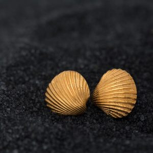 Hand Made Sterling Silver Gold Plated Tiny Cockle Clam Seashell Studs
