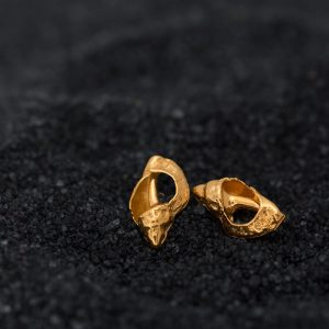 gold Broken Seashell Conch Studs