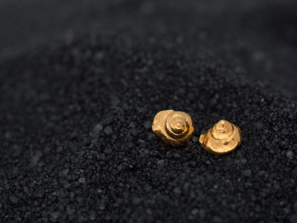 Hand Made Sterling Silver Gold Plated Snail SeaShell Studs