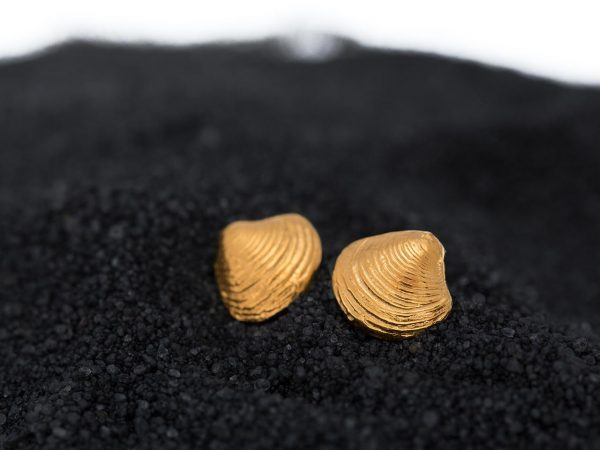 Hand Made Sterling Silver Gold Plated Tiny Clam Seashell Earrings