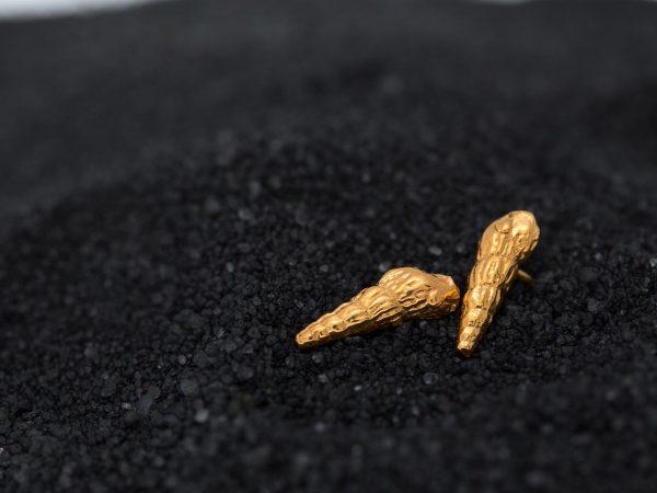 gold Turritela Seashell Studs