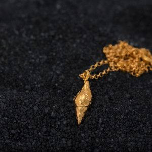 Hand Made Sterling Silver Gold Plated Dove Seashell Pendant