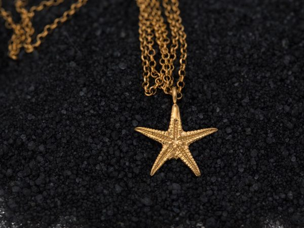 Hand Made Sterling Silver Gold Plated Small Starfish Pendant