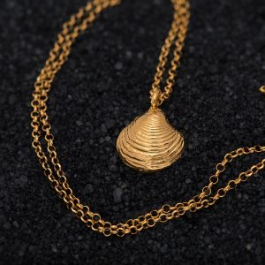 Hand Made Sterling Silver Gold Plated Tiny Clam Seashell Pendant