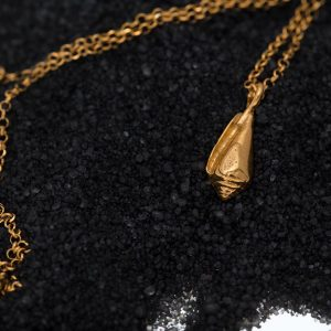 Hand Made Sterling Silver Gold Plated Cone Seashell Pendant