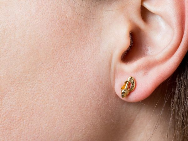 Hand Made Sterling Silver Gold Plated Broken Seashell Conch Studs