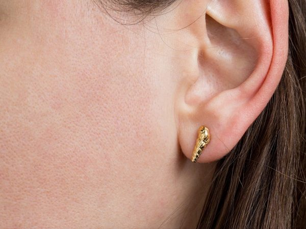 Hand Made Sterling Silver Gold Plated Turritela Seashell Studs