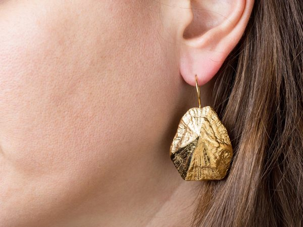 Hand Made Sterling Silver Gold Plated Big Limpet Seashell Earrings