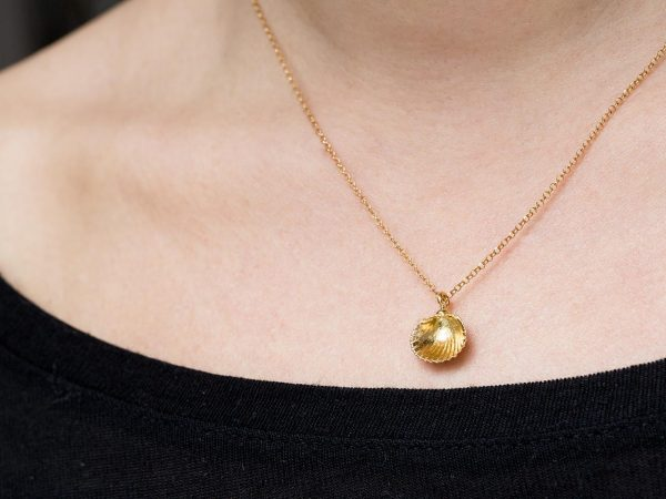 Hand Made Sterling Silver Gold Plated Tiny Cockle Clam Seashell Pendant