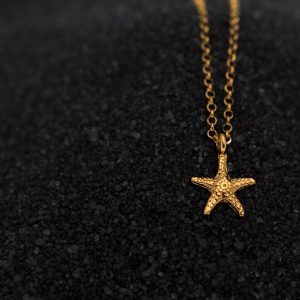 Hand Made Sterling Silver Gold Plated Tiny Starfish Pendant