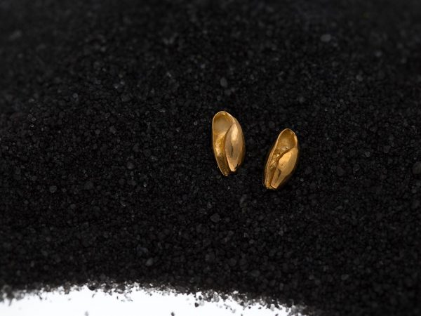Hand Made Sterling Silver Gold Plated Bubble Seashell Studs