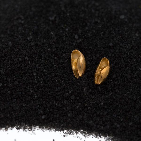 gold bubble seashell studs