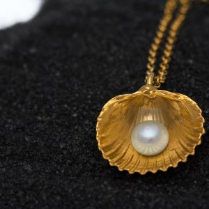 Big cockle clam shell pendant with pearl front