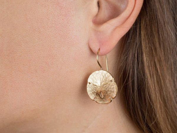 Hand Made Sterling Silver Gold Plated Sand Dollar Seashell Earrings