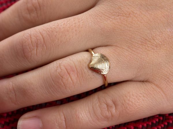 Tiny clam shell ring hand