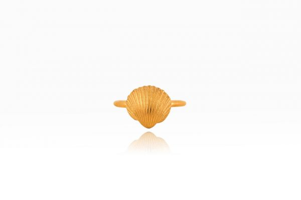 Hand Made Sterling Silver Gold Plated Tiny Cockle Clam Seashell Ring