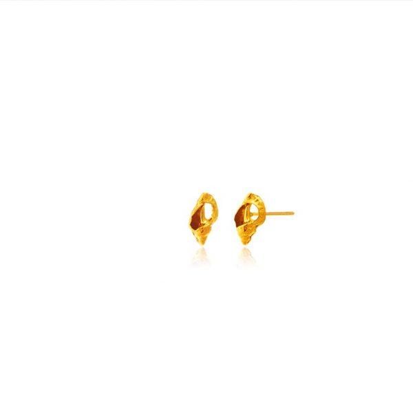 gold Broken Seashell Conch Studs