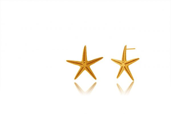 Hand Made Sterling Silver Gold Plated Big Starfish Studs