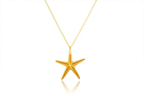 Hand Made Sterling Silver Gold Plated Big Starfish Pendant