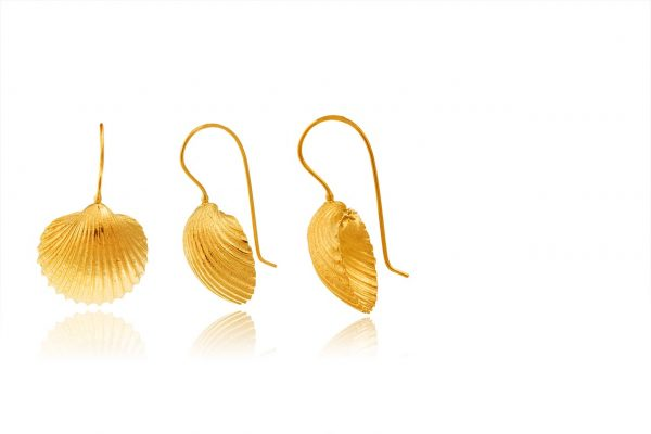 Hand Made Sterling Silver Gold Plated Big Cockle Clam Seashell Earrings