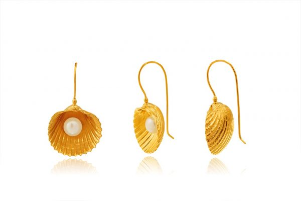 Hand Made Sterling Silver Gold Plated Big Cockle Clam Earring with Pearl