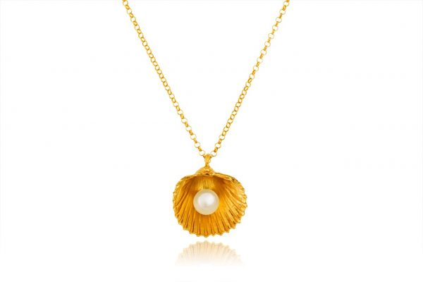 Hand Made Sterling Silver Gold Plated Big Cockle Clam Pendant with pearl