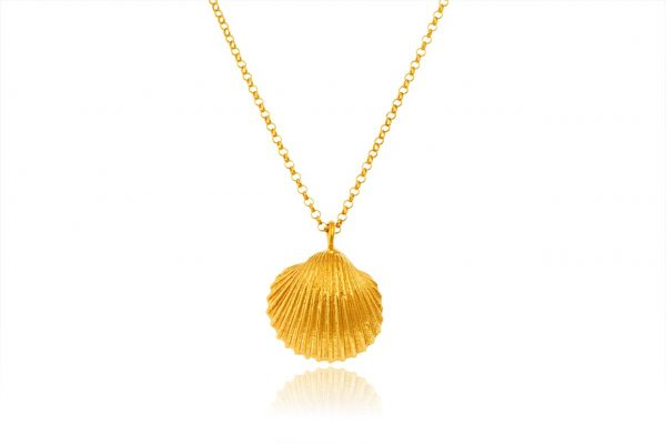 Hand Made Sterling Silver Gold Plated Big Cockle Clam Seashell Pendant with Pearl