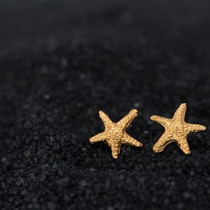 Hand Made Sterling Silver Gold Plated Tiny Starfish Studs