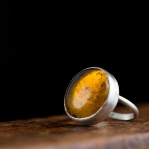 Hand Made Sterling Silver Big Amber Adjustable Pastille Ring