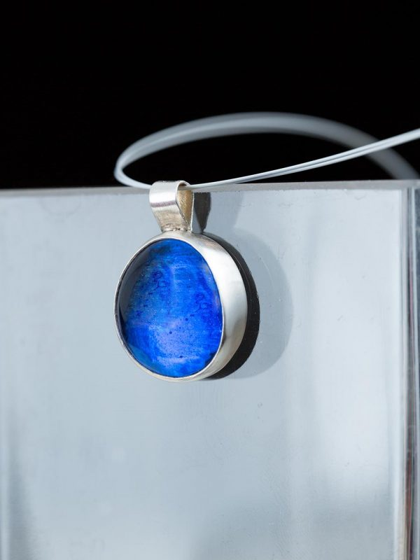 Hand Made Sterling Silver Big Royal Sapphire Blue Pastille Pendant