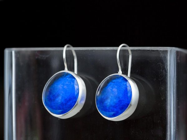 Hand Made Sterling Silver Big Royal Sapphire Blue Pastilles Earrings