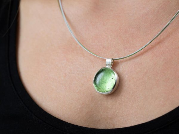 Hand Made Sterling Silver Small Peridot Green Pastille Pendant