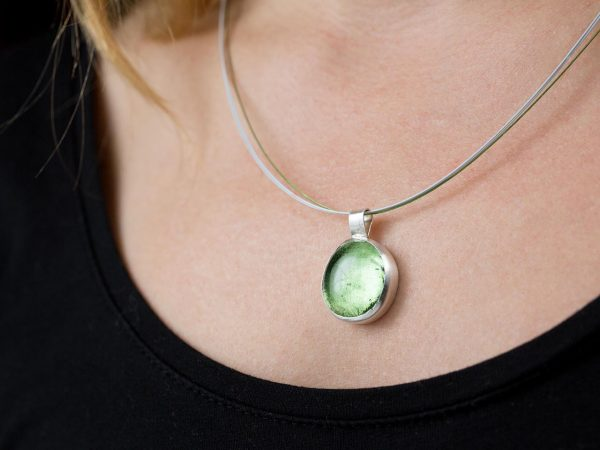 Hand Made Sterling Silver Big Peridot Green Pastille Pendant