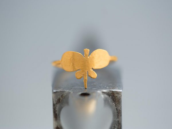 Hand Made Sterling Silver Gold Plated Plain Butterfly Ring