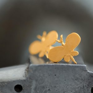 Hand Made Sterling Silver Gold Plated Plain Butterfly Studs
