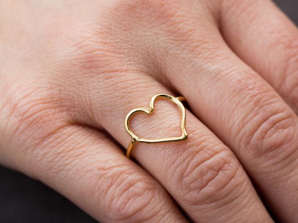 Hand Made Sterling Silver Gold Plated Wire Heart Ring
