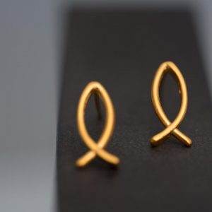 Hand Made Sterling Silver Gold Plated Ichthys Studs