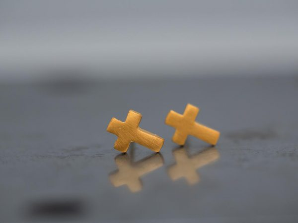 Hand Made Sterling Silver Gold Plated Tiny Cross Studs