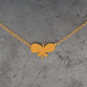Hand Made Sterling Silver Gold Plated Plain Butterfly Pendant