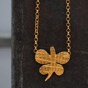 Hand Made Sterling Silver Gold Plated Striped Butterfly Pendant