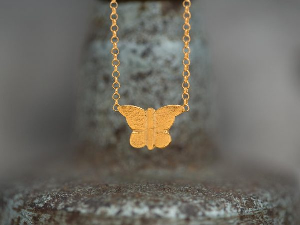Hand Made Sterling Silver Gold Plated Etched Butterfly Pendant