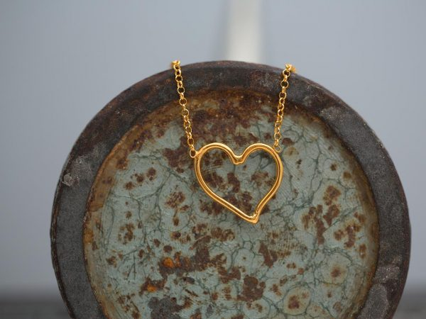 Hand Made Sterling Silver Gold Plated Wire Heart Pendant